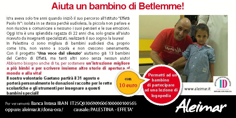 Aiuta un bambino audioleso di Betlemme!